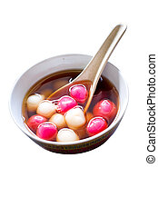 glutinous Rice Balls - a bowl of traditional delicacy for...