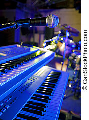 microphone and keys in live - Close up image of microphone...