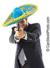 Mexican Gunslinger - Man Holding a fire gun over white...