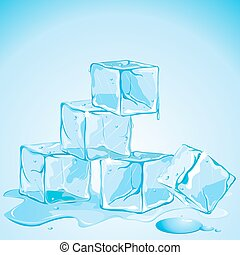 Ice Cubes - illustration of melting ice cubes on abstract...