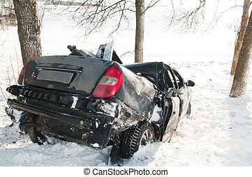 winter car crash accident
