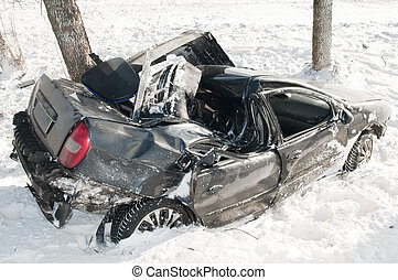 winter car crash accident - car crash accident at snow road...