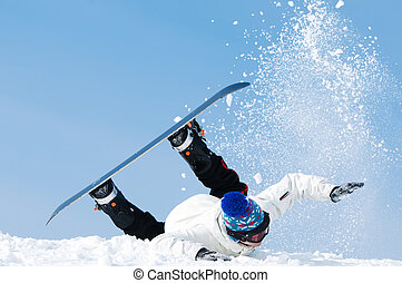 snowboard extreme falling - falling young man on snowboard...