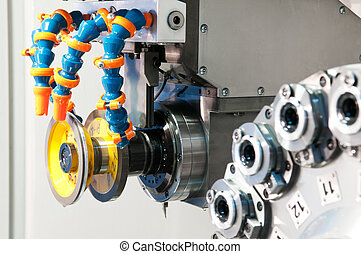 machining center equipment with tools