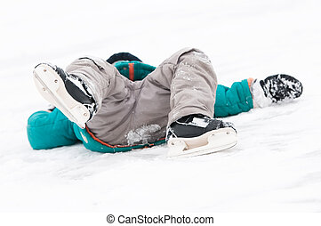 winter sport skating injury - physical injury of little...