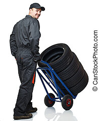 manual worker with handtruck