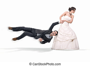 Bride abusing groom, isolated on white