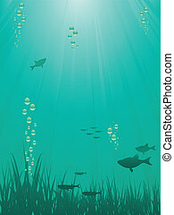 underwater sence - Underwater scene with fish, bubbles and...