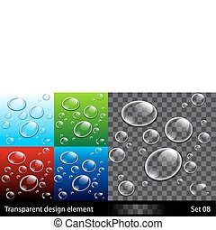 Set backgrounds with colorful bubbles. Vector transparent...