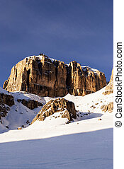 dolomites in winter, mountain panorama world heritage...