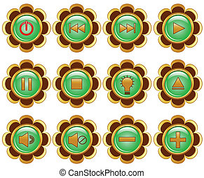 vector illustration of a set of a flower media buttons.