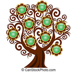 vector illustration of a curl tree with flower buttons...