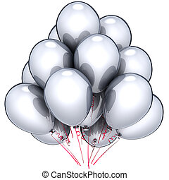 Silver balloons party decoration