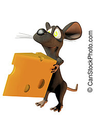 cheeky cartoon mouse holding a wedge of cheese