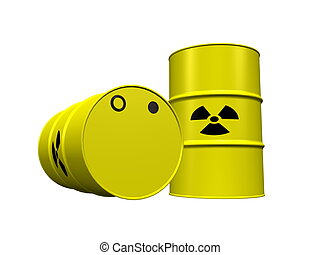 Nuclear waste barrels - Two yellow nuclear waste barrels