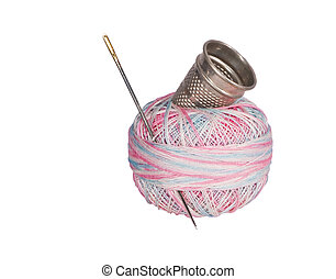 Thimble, Needle, Thread - Multicolored thread with...