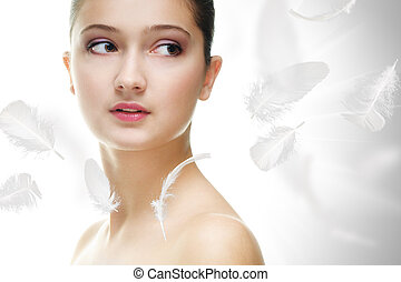 beauty portrait - beauty girl on the grey background