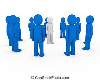 3d human group circle blue