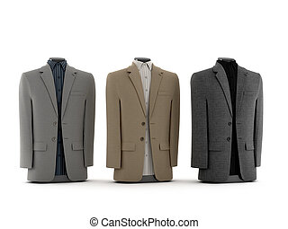 mens suits - computer visualization of mens suits, isolated...