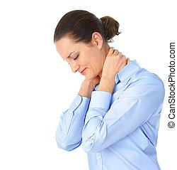 Sick woman - Sick young woman Neck pain