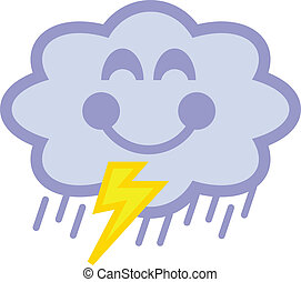Cloud that is happy and raining - Cartoon cloud that is...