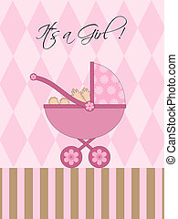 Its A Girl Pink Baby Pram Carriage with Background...