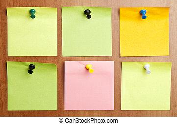 Six empty  post it - Six empty post it on wooden wall