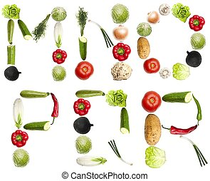 Letters made of vegetables - M to R letters made of...