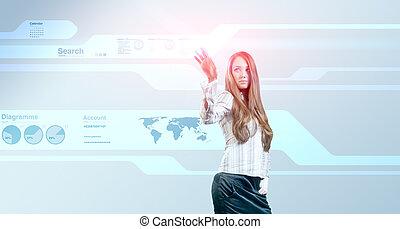 Lady touching hi-tech
