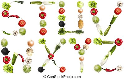 Letters made of vegetables
