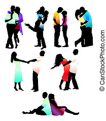 Set of happy love couple silhouettes. Boys and girls.vector
