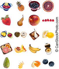 Collage Montage of Fruit Isolated on White