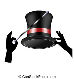 Magician - Hat and hands on a white background