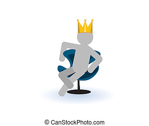 King - The king in a crown sits in a blue armchair