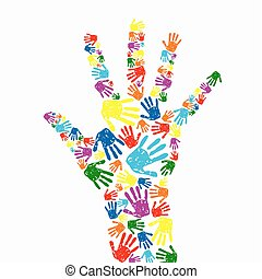 hand prints background - abstract vector hand prints...