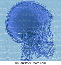 eeg brainwaves and x-ray skull