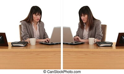 Dark-haired business women working at their desk