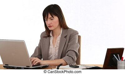 Dark-haired businesswoman working