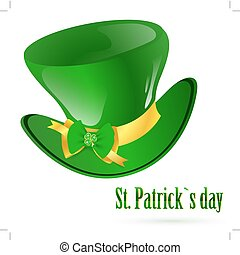 StPatrick green hat with decorative bow and emerald shamrock...