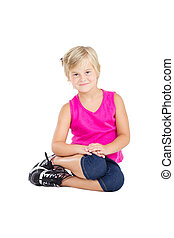 cute little girl sitting on floor