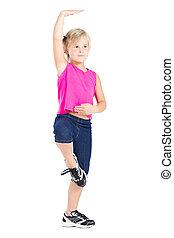 lovely little girl dance on white background