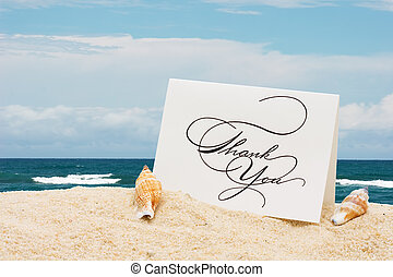 Vacation Thank You - A thank you card with seashells sitting...