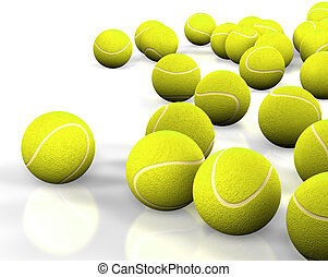 tennis ball - 3d image of several tennis ball isolated in...