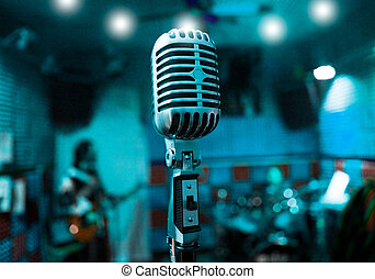 microphone and musicians - Abstract background music with...