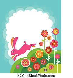 Running Easter bunny template with white copyspace