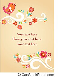 Childish Easter card - Easter card with flowers and a bird