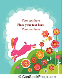 Running Easter bunny card