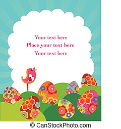 Easter card - Easte rcard with clowd copyspace