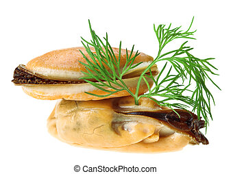 Two cooked unshelled sea mussel with dill twig
