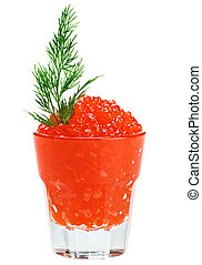 Red salmon caviar in a glass with dill twig isolated on...
